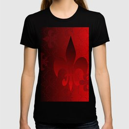 Fleur De Lis Red Holiday Pattern T-shirt