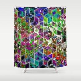 cascading interlocked box abstract  Shower Curtain