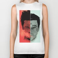 tyler durden Biker Tanks featuring Tyler Durden V. the Narrator by qualitypunk