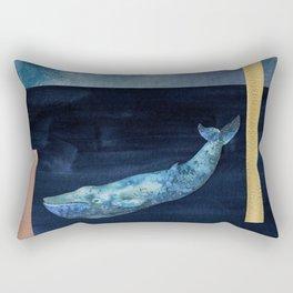 Blue Whale - Gold, Copper And Deep Blue Rectangular Pillow