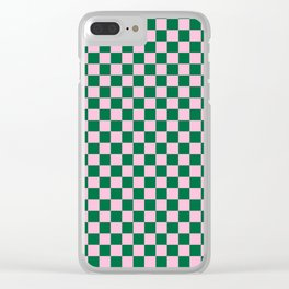 Cotton Candy Pink and Cadmium Green Checkerboard Clear iPhone Case