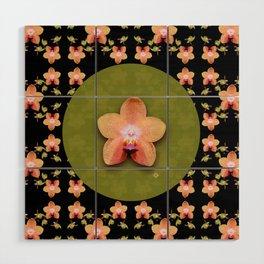 Magenta Peach Phalaenopsis Orchid Pattern Wood Wall Art