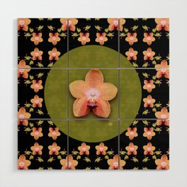 Magenta Peach Phalaenopsis Orchid Pattern Wood Wall Art