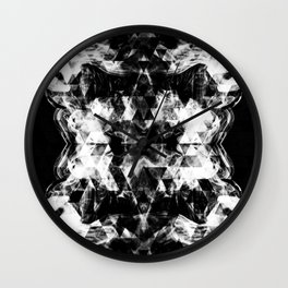 Electrifying black and white sparkly triangle flames Wall Clock