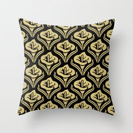 Calla Lily Pattern Black and Gold Throw Pillow