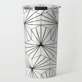 Hexagonal Pattern - White Concrete Travel Mug