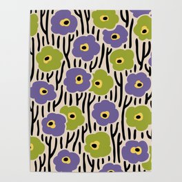 Mid Century Modern Wild Flowers Pattern Purple and Green Poster