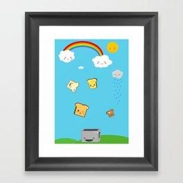 Flying Toast On Blue Framed Art Print