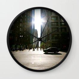 Sun Between Buildings Wall Clock