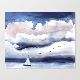 Sailing Boat with Thunderclouds Canvas Print