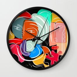 Love your family expressionist cubist street art Wall Clock