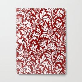 William Morris Thistle Damask, Dark Red and White Metal Print