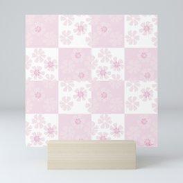 White pink spring floral check pattern Mini Art Print