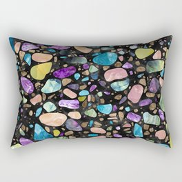 Terrazzo - Gemstones and Gold - Black Marble Rectangular Pillow