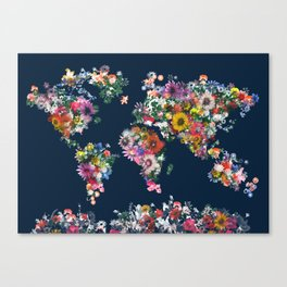 world map floral Canvas Print