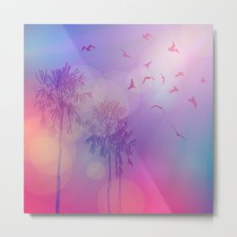 Silhouette of palm trees and birds, sky pink background, sunset, dawn. Metal Print