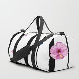 Humming Bird and Hibiscus Stripe Duffle Bag