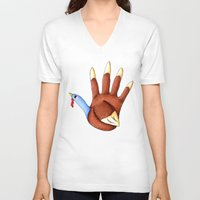 turkey V-neck T-shirts featuring 1st Turkey by KristenOKeefeArt