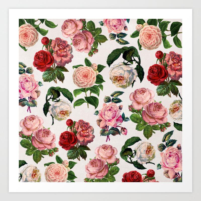 Vintage Floral Rose Print Art Print By Anniemariedesigns Society6
