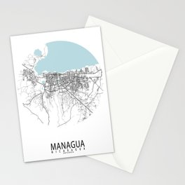 Managua City Map of Nicaragua - Circle Stationery Cards