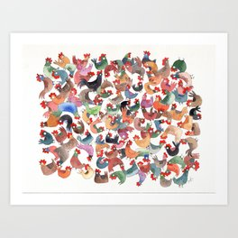 Chicken mess Art Print