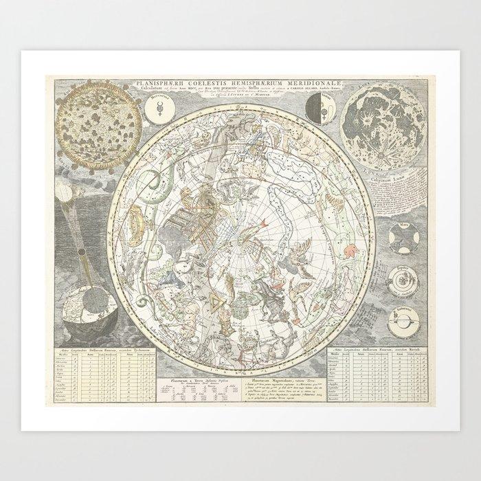 Star map of the Southern Starry Sky Kunstdrucke