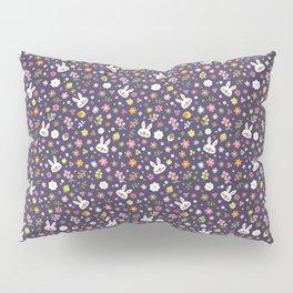 Bunny Floral Pattern Design / Purple Pillow Sham