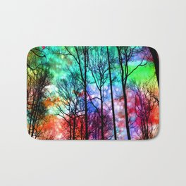 colorful abstract forest Bath Mat