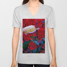 YELLOW ROSE  ON RED ROSES GARDEN ABSTRACT Unisex V-Neck