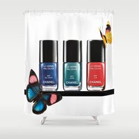 nail polish Shower Curtains featuring Butterflies & Nail Polish  by Luxe Glam Decor