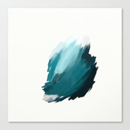 Deep Dark Aqua and White Abstract Painting Home Decor Wall Art by Jules Tillman. Canvas Print