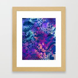 Japanese Stencil Pattern #2 | Flowing Water Waterwheel Basket Weave |Blue & Purple Watercolor Framed Art Print