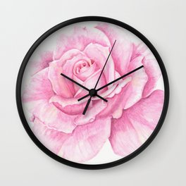 Deep Pink Rose with a touch of yellow Wall Clock