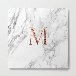 Monogram rose gold marble M Metal Print