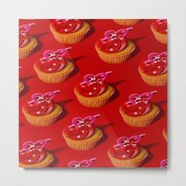 Red Cupcakes pattern  Metal Print