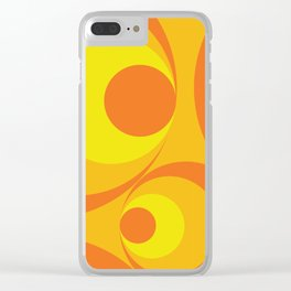Crazy Orange Circles Clear iPhone Case