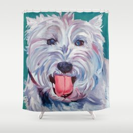 The Westie Kirby Dog Portrait Shower Curtain