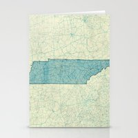 tennessee Stationery Cards featuring Tennessee State Map Blue Vintage by City Art Posters
