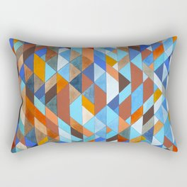 Triangle Pattern no.18 blue and orange Rectangular Pillow