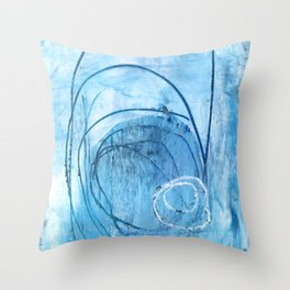 Blue Scribble Abstract Painting Throw Pillow