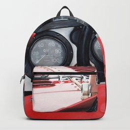 Old racing red car Backpack
