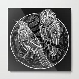 Tui and Morepork - Dark Metal Print