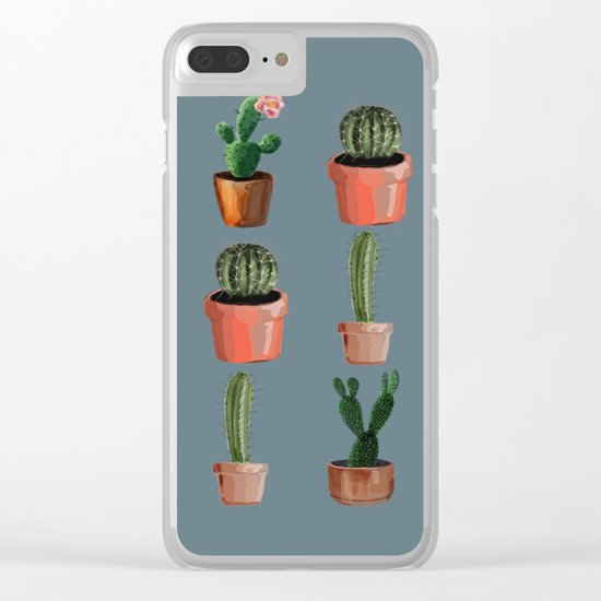 Various Cacti Blue Clear iPhone Case