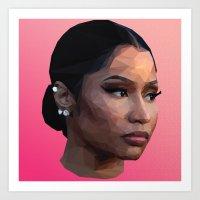 nicki Art Prints featuring Nicki by Joshua Burkett Designs