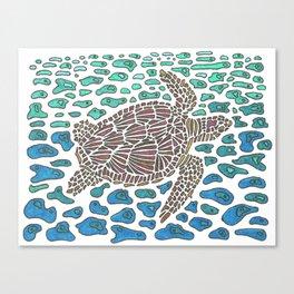 Vanishing Sea Turtle by Black Dwarf Designs Canvas Print