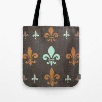 fleur de lis Tote Bags featuring Fleur de lis #2 by Camille