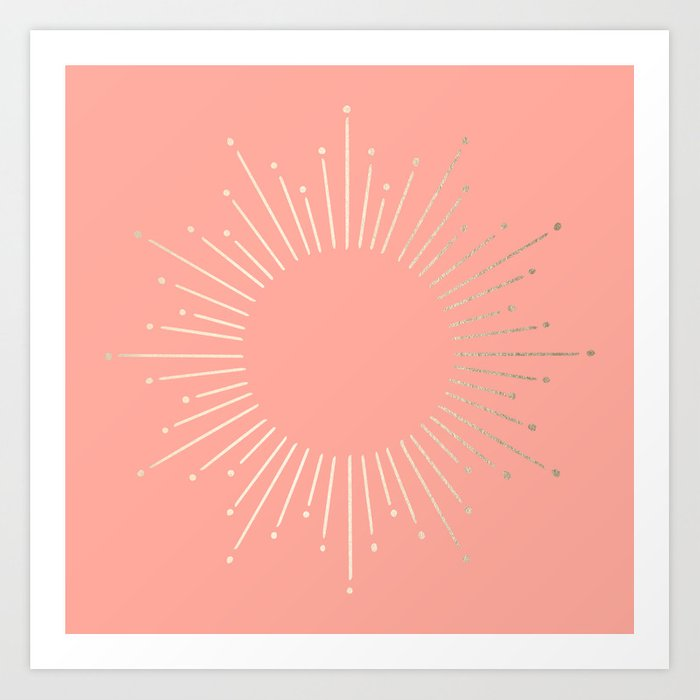 Simply Sunburst in White Gold Sands on Salmon Pink Art Print