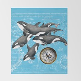 Orca Whales Pod Blue Compass Vintage Map Throw Blanket