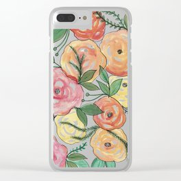 Peachy-est of Flowers Clear iPhone Case