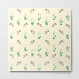 Robin Birds and Snowdrops Pattern Metal Print